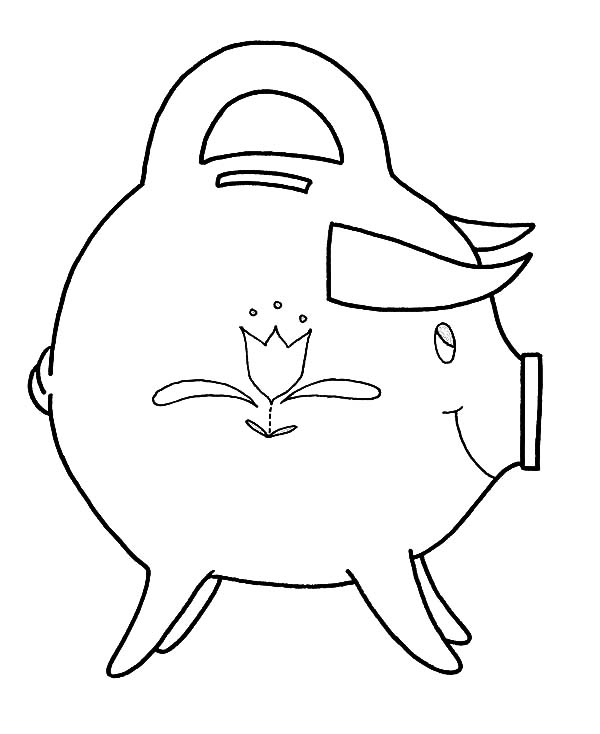 Piggy Bank, : Piggy Bank with Sharp Horn Coloring Page