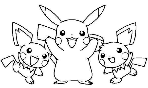 Pikachu and Raichu and Pichu Coloring Page | Color Luna
