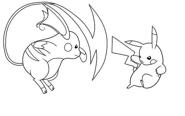 Raichu, : Pikachu vs Raichu Coloring Page