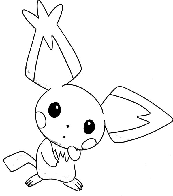 Pointed Ear Pichu is Amazed Coloring Page Color Luna