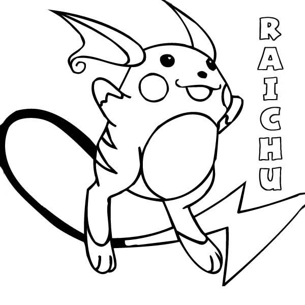 Pokemon Raichu Coloring Page Color Luna