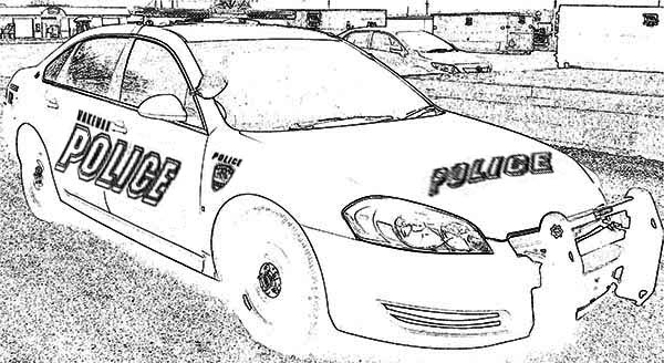 Police Car, : Police Car Drawing Coloring Page