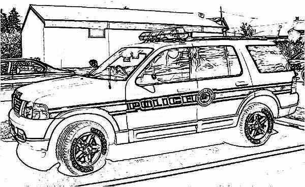 police car raid o criminal house coloring page