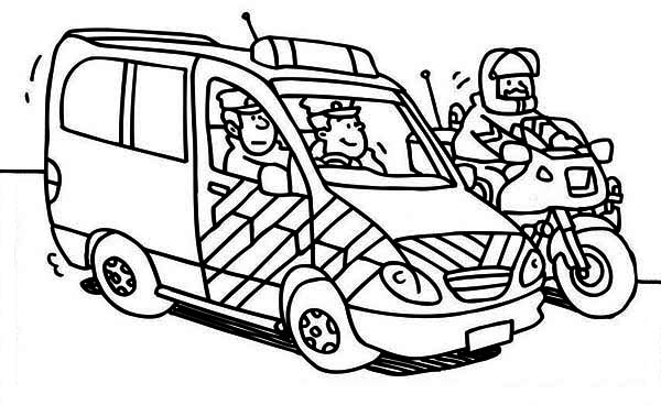 police car and motorcycle coloring page