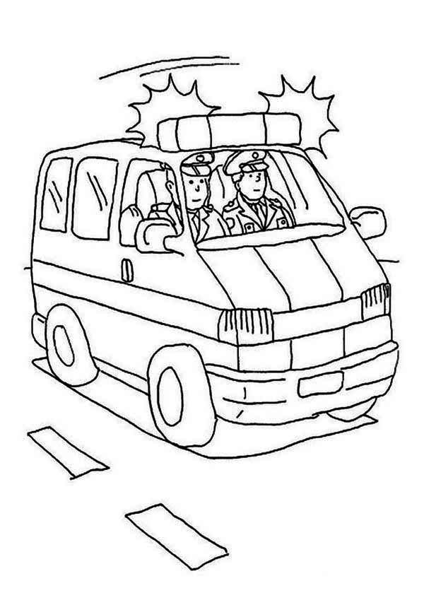 Police Car, : Police Car with Sirene Coloring Page