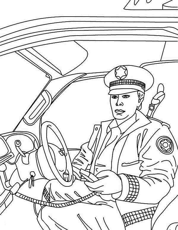 Police Car, : Police Man Reporting to Head Quarter in Police Car Coloring Page