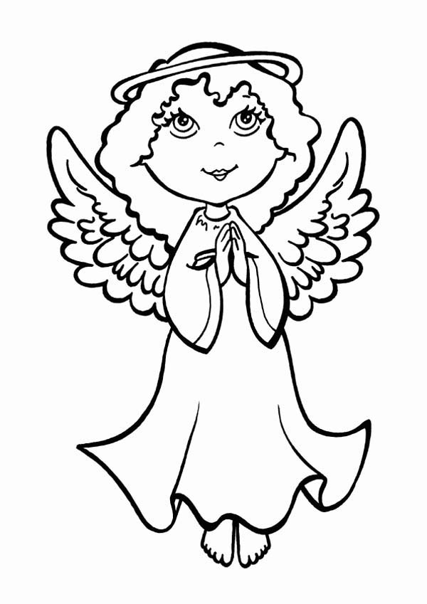 Angels, : Pretty Little Angels Praying Coloring Page