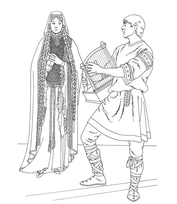 Middle Ages, : Prince Playing Harp for Princess in Middle Ages Coloring Page