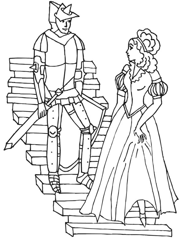 Middle Ages, : Prince and Princess in Middle Ages Coloring Page