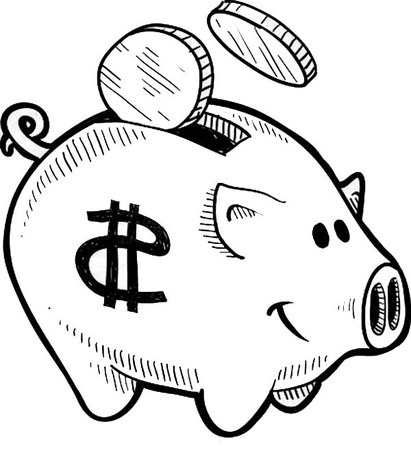 put your coin piggy bank coloring page