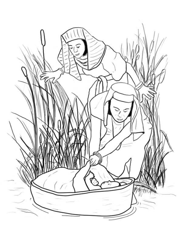 Moses, : Queen Bithina Found Moses at Nile River Coloring Page