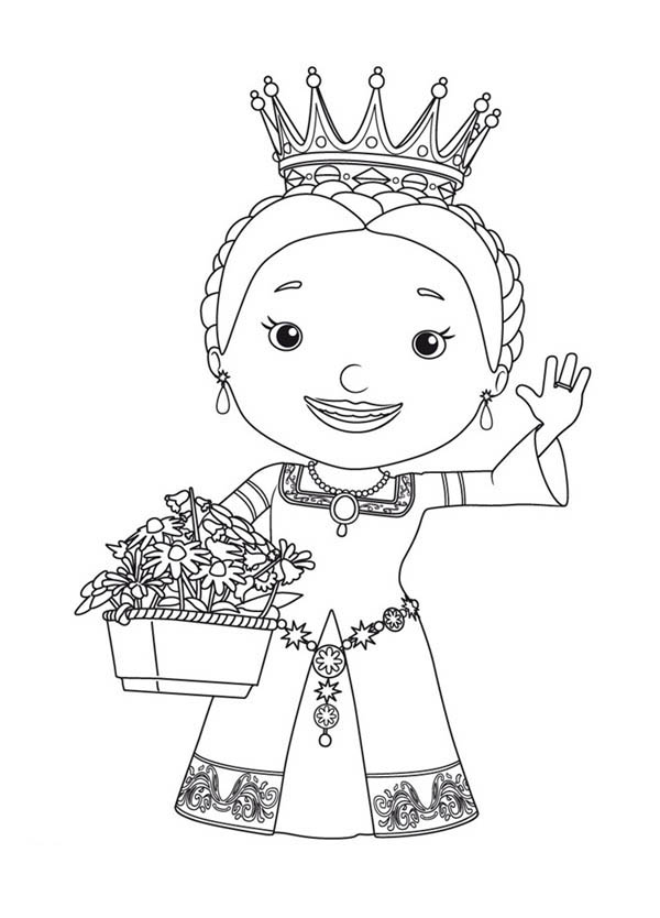 Mike the Knight, : Queen Martha and Bouquet of Flower in Mike the Knight Coloring Page