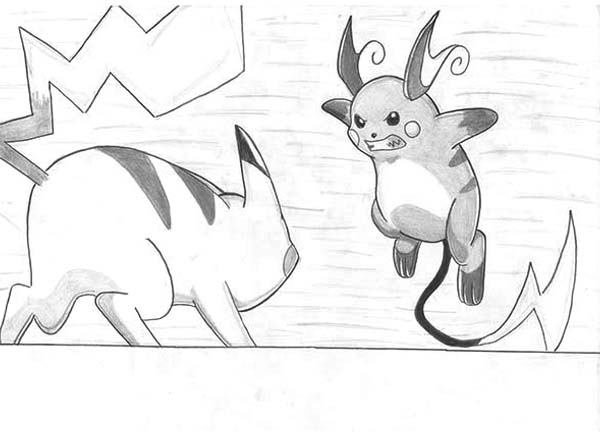 Raichu Against Pikachu Coloring Page Color Luna