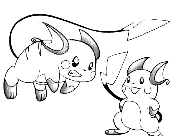 Raichu Learn to Attack Coloring Page  Color Luna