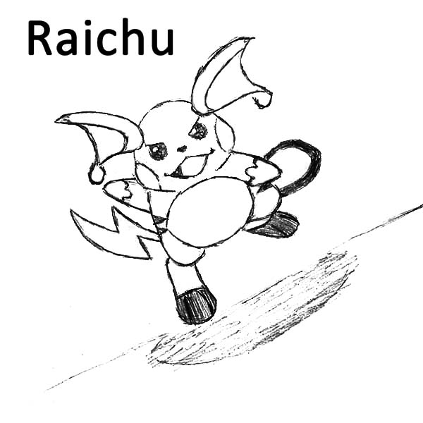 Raichu, : Raichu Running Forward Coloring Page