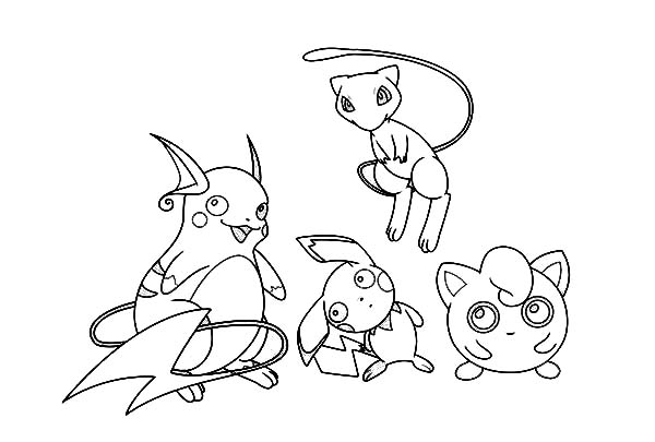 Raichu, : Raichu and Friends Coloring Page