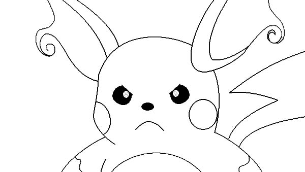 Raichu, : Raichu is Angry Coloring Page