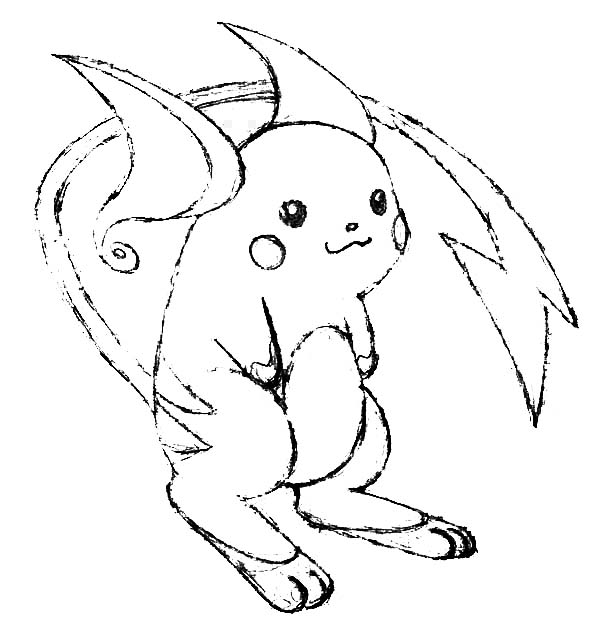 Raichu, : Raichu is Smiling Coloring Page