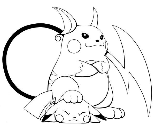 Raichu is lose to Pikachu Coloring Page | Color Luna
