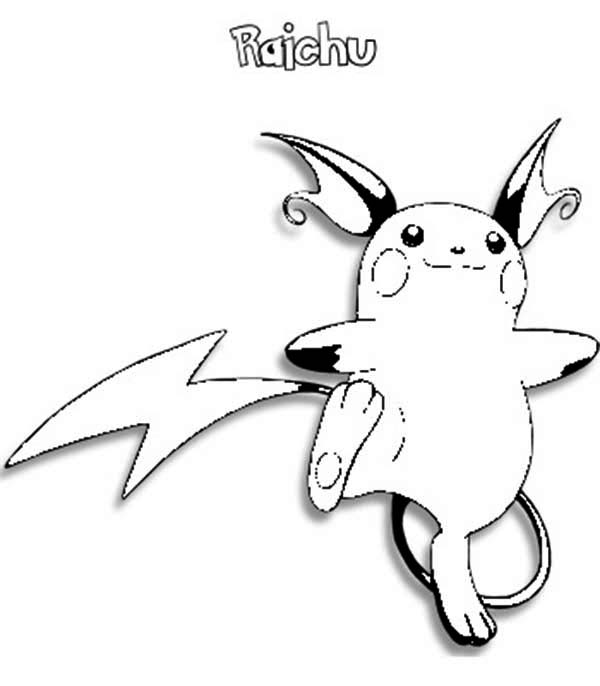 Raichu, : Raichu is so Excited Coloring Page