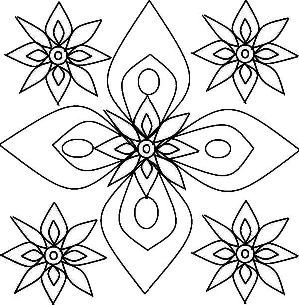 Rangoli, : Rangoli Flower Petals Design Coloring Page