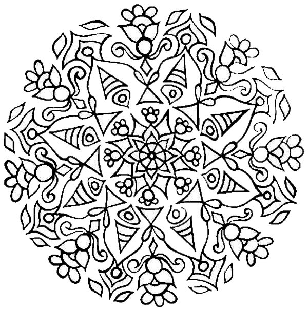 Rangoli, : Rangoli with Mandala Design Coloring Page