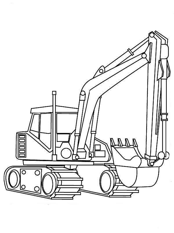 Realistic Picture Of Excavator In Digger Coloring Page