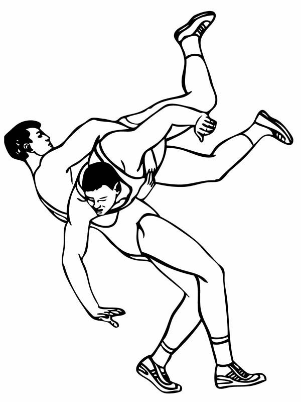 Wrestling, : Roman Wrestling Style Coloring Page