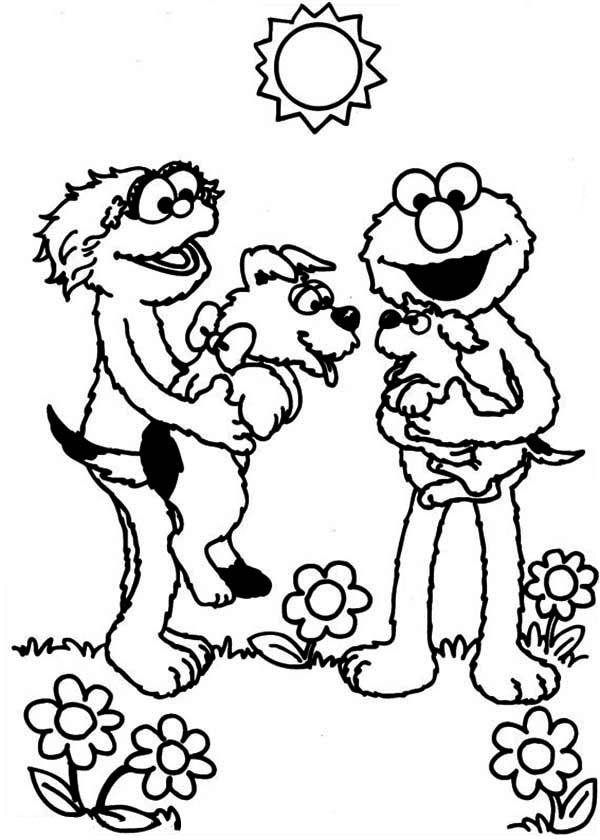 Rosita and Elmo Playing with Puppy in Sesame Street Coloring Page ...