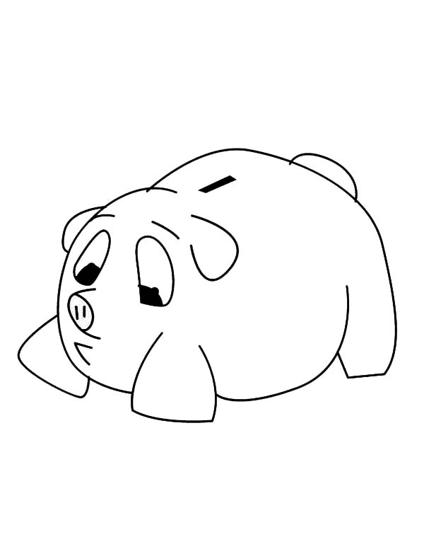 Piggy Bank, : Sad Piggy Bank Coloring Page