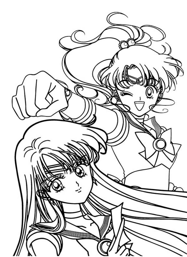 sailor jupiter and sailor mars in sailor moon coloring page, printable coloring