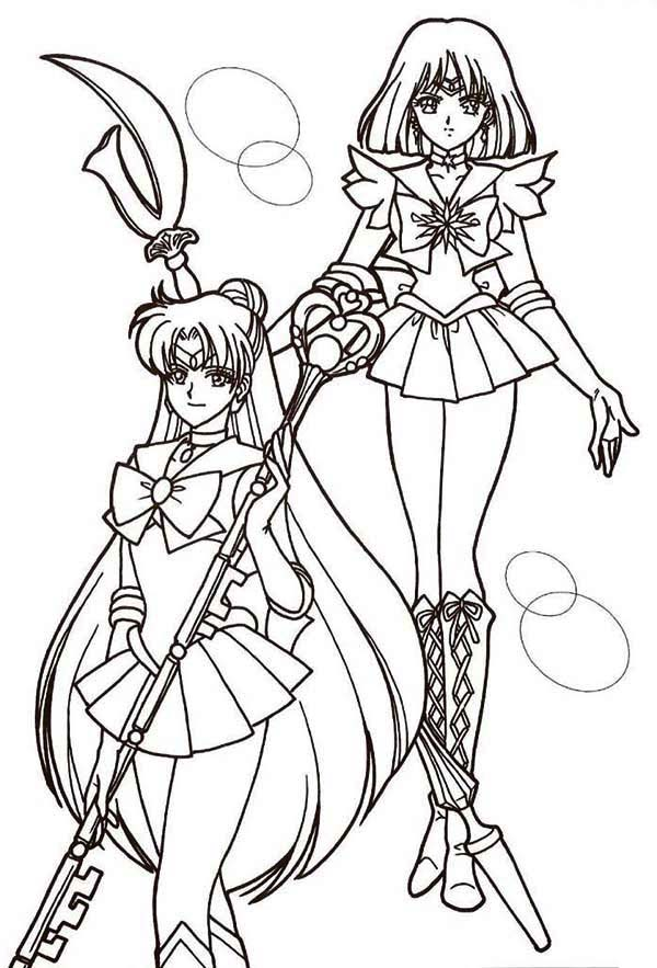 Sailor Moon, : Sailor Mercury and Sailor Mars in Sailor Moon Coloring Page