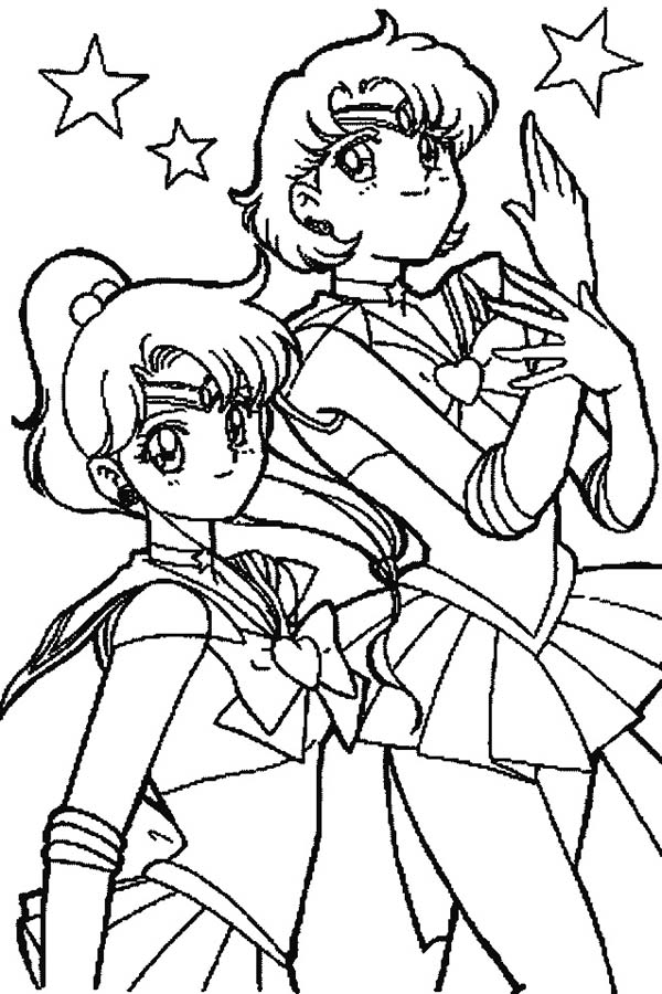 Sailor Moon Mars and Sailor Jupiter in Sailor Moon Coloring Page