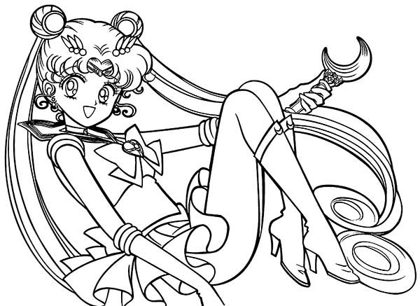 Sailor Moon Silver Moon Christal Power Coloring Page