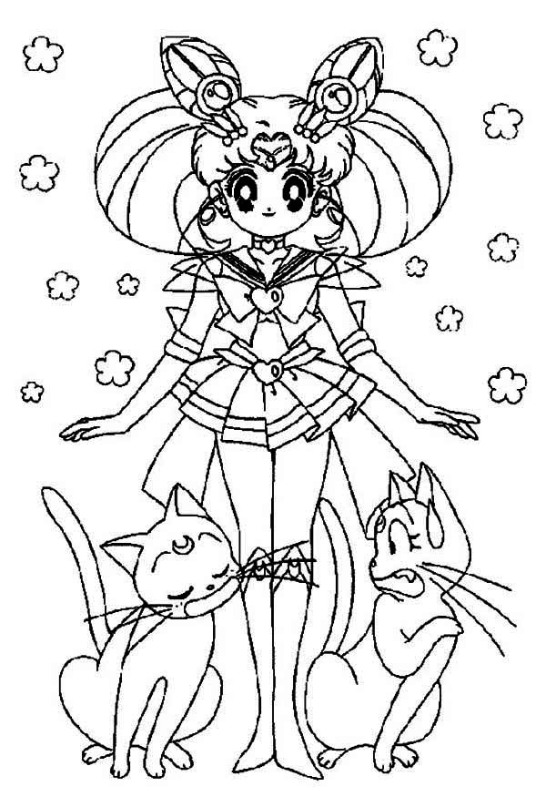 Sailor Moon, : Sailor Moon and Luna Coloring Page
