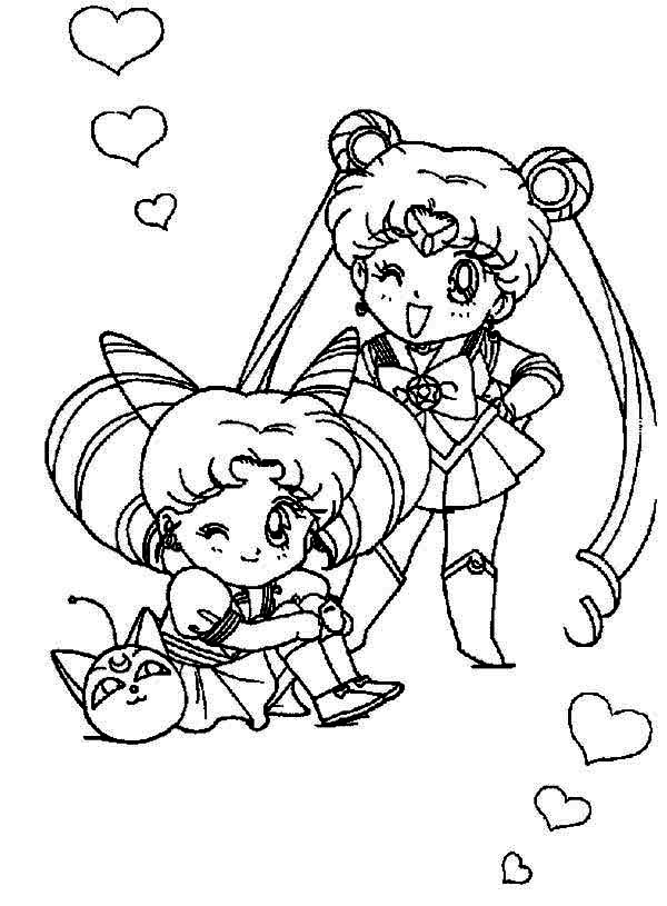 Sailor Moon, : Sailor Moon and Sailor Chibi Moon Coloring Page