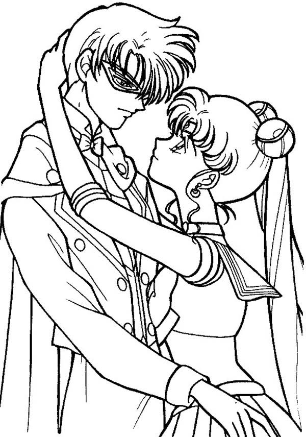 Sailor Moon, : Sailor Moon and Tuxedo Mask are in Love Coloring Page