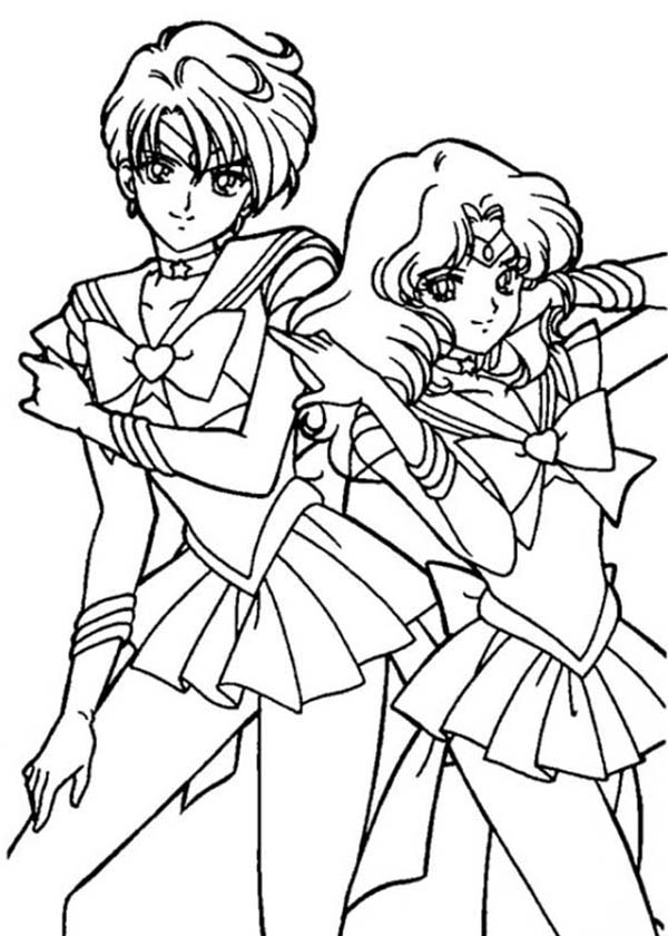 Sailor Moon, : Sailor Neptune and Sailor Mercury in Sailor Moon Coloring Page