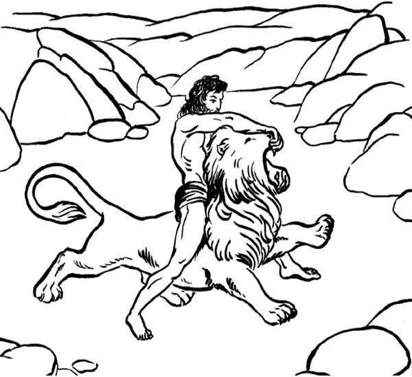 Samson Killing a Lion Coloring Page | Color Luna