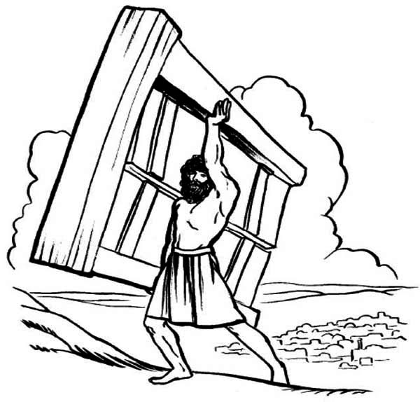 Samson, : Samson Lifting Heavy Wooden Door Coloring Page