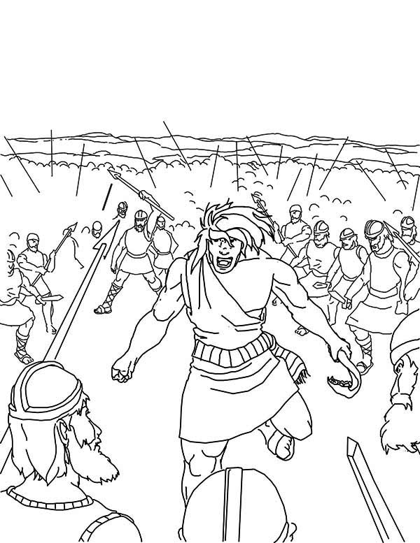 Samson, : Samson Slaying Entire Army Coloring Page