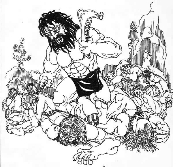 Samson, : Samson Slaying Entire Army with a Jawbone Coloring Page