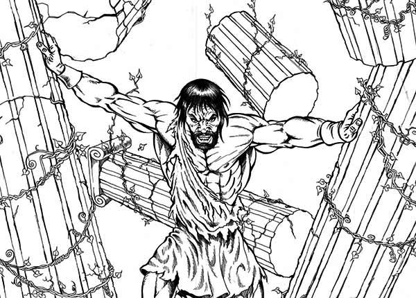 Samson, : Samson The Strongest Human Coloring Page