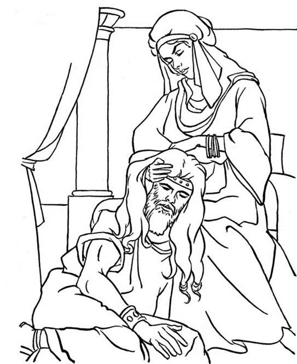 Samson, : Samson Weakness is His Hair Coloring Page