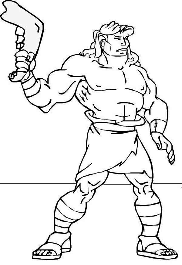 Samson, : Samson with Jawbone of an Ass Coloring Page