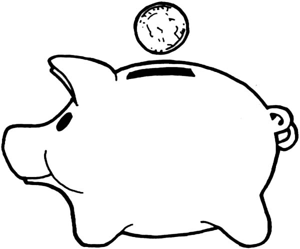 Piggy Bank, : Save Money Piggy Bank Coloring Page