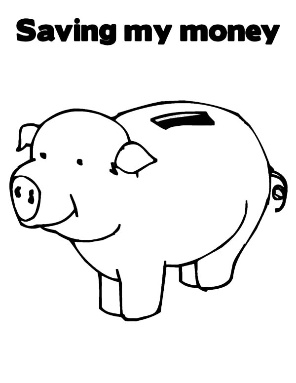 Piggy Bank, : Saving My Money in Piggy Bank Coloring Page