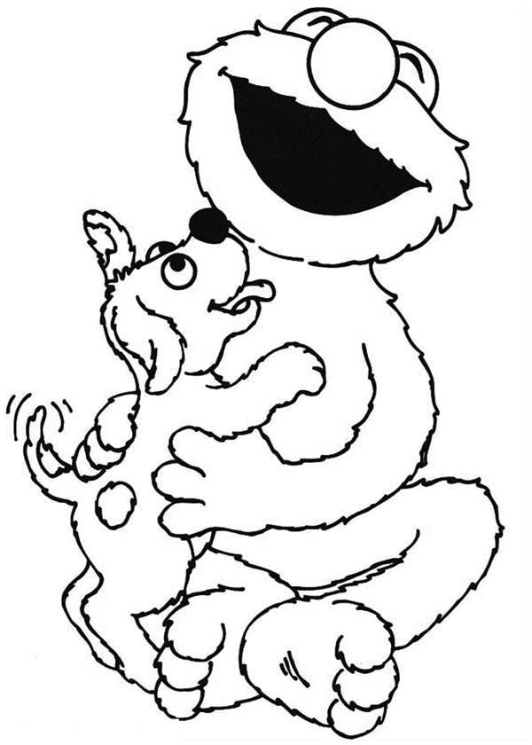 Sesame street elmo lick by little dog coloring page