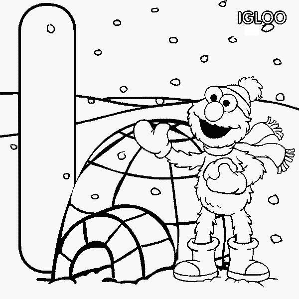 Sesame Street Elmo And Igloo House Coloring Page