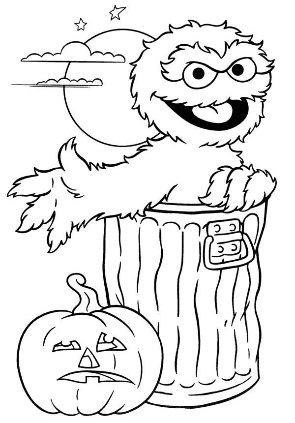 Sesame Street, : Sesame Street Halloween with Oscar Coloring Page
